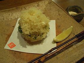 主菜2 海老と春菊のかき揚げ