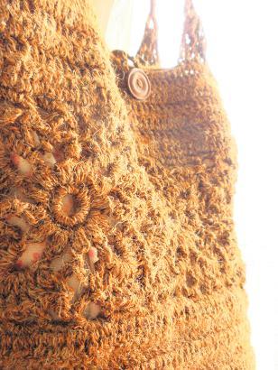 麻糸の編みバッグ1