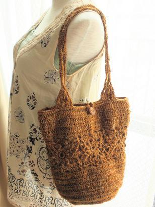 麻糸の編みバッグ2