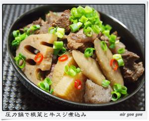 圧力鍋で根菜と牛スジ煮込み
