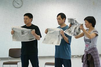 新聞紙で音づくり