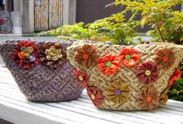 お花のカゴバッグ