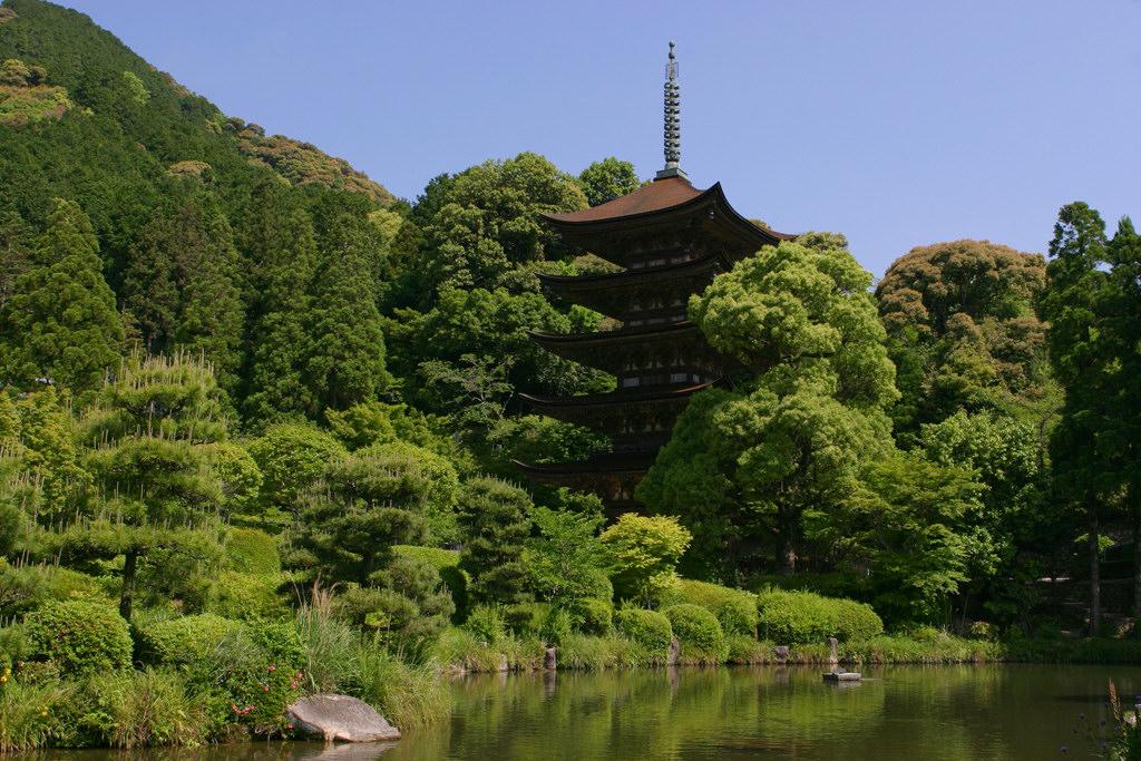 五重塔と池