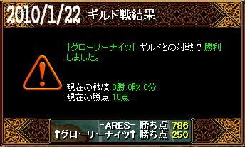 1/22†グローリーナイツ†戦