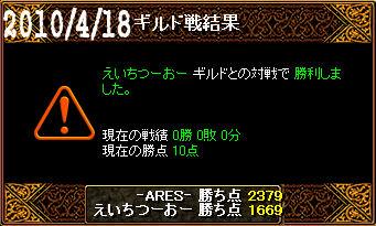 4/18えいちつーおー戦