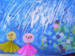 雨降り はじき絵
