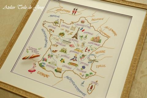 フランス地図の刺繍