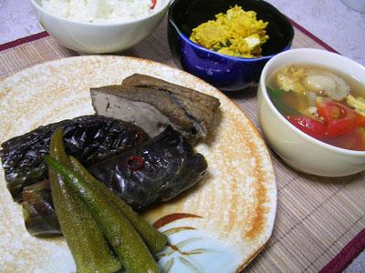 080827なすの田舎煮、カボチャとチーズのマヨサラダ、トマトとホタテの卵スープ、ご飯