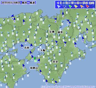 4月9日16時風速