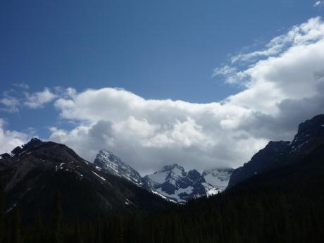トレイルヘッドから望むロッキーの山々