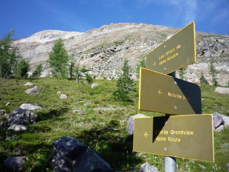 オデレイ山岳コースの標識