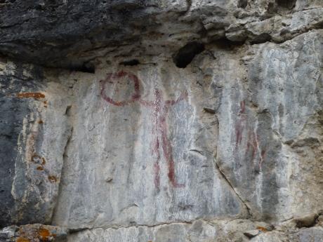 1万年前の先住民の壁画 ボールを持ってグリコのポーズ?