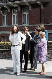 The Beatles waiting to cross