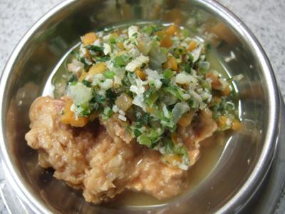 サツマイモ、小松菜、大根、しいたけ、煮干、真タラ
