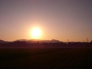 我が家からの夕日