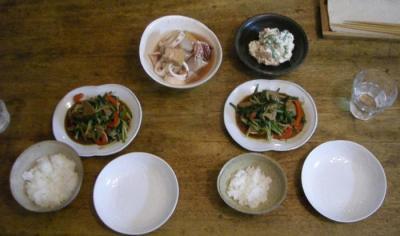 レバニラ!白和え!煮もの!久しぶりなお家ごはん。2008.8.19