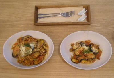 大好きパスタ!茄子とホールトマトのアラビアータ!2008.9.1