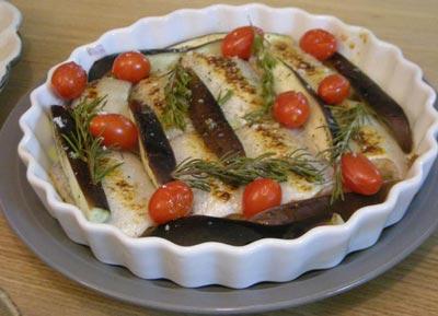 サーモンと茄子とトマトのオーブン焼き ローズマリーの香り。2008.9.7