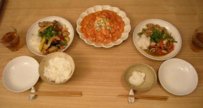 野菜たくさんが嬉しい。生姜焼きとエビチリ 2008.9.22