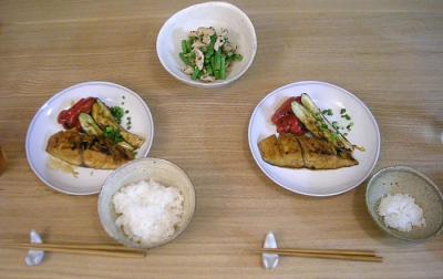 さわらの照り焼きと鶏のささみのサラダ 2008.9.24