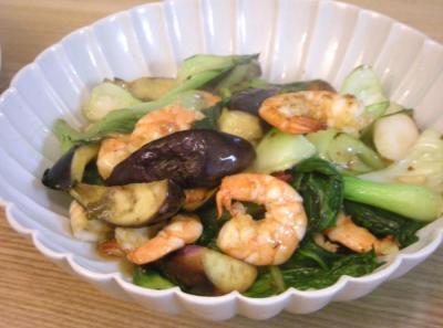 イワシとエビを満喫。海老となすとちんげん菜のエスニック炒め 2008.9.30