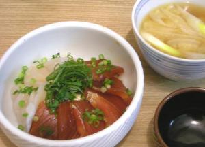 海鮮丼定食 マグロの漬けとホタテのどんぶり 2009.2.2
