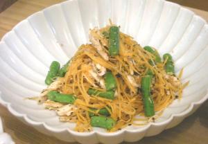 鶏ささみとにんじんといんげんの胡麻サラダ 2009.2.20