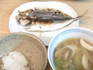 あじの干物定食 ごはんとお味噌汁 2009.4.2