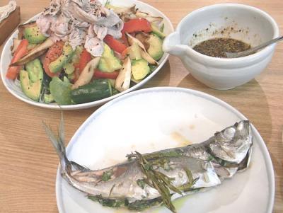 アジのオーブン焼きと豚しゃぶサラダ 2009.7.2