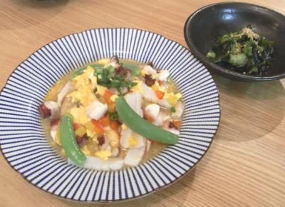 海鮮あんかけチャーハンとわかめときゅうりの酢の物 2009.7.3