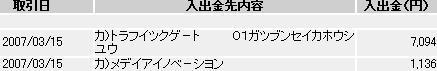 3月15日イーバンク銀行入金額