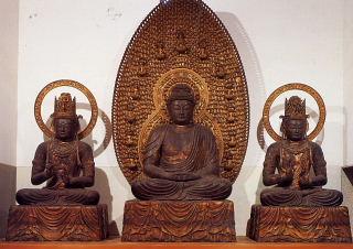 清涼寺-阿弥陀三尊坐像