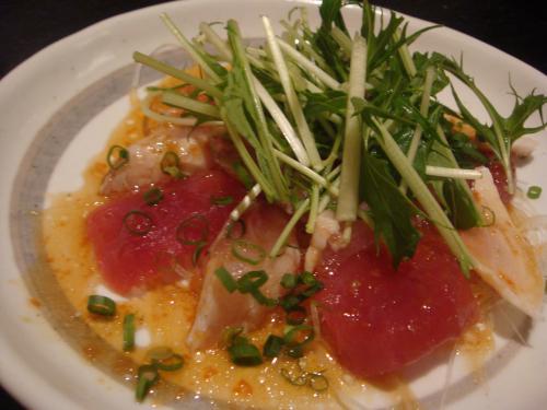 遊心食堂マグロと白身魚のカルパッチョ
