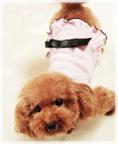 ピンクのドットワンピ