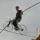 自転車綱渡り世界記録