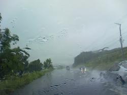 雨が激しかったサロマ湖