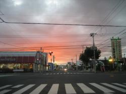 豊岡4条 信号待ちで夕焼け