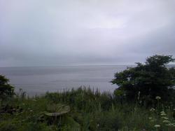 雨のサロマ湖