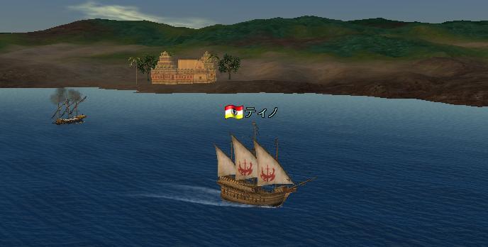 夕日に映える船