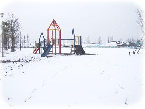 公園も雪化粧