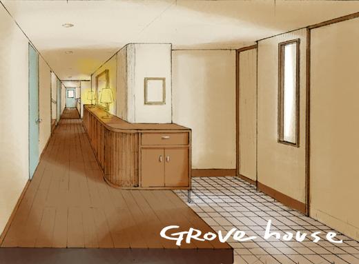 玄関から廊下へのパース画