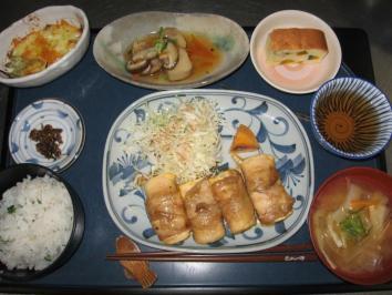 1107 豆腐の肉巻きランチ