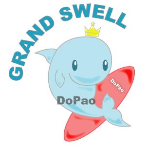 Grand Swell 大きなうねり イルカのサーファー オリジナルデザイン