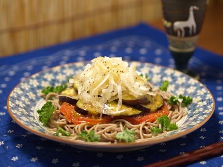 炒め茄子のサラダ蕎麦16