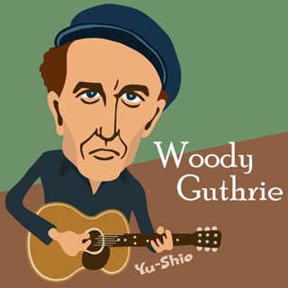 Woody Guthrie caricature
