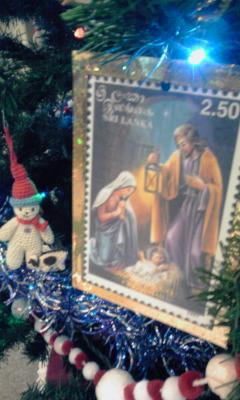クリスマス切手飾り