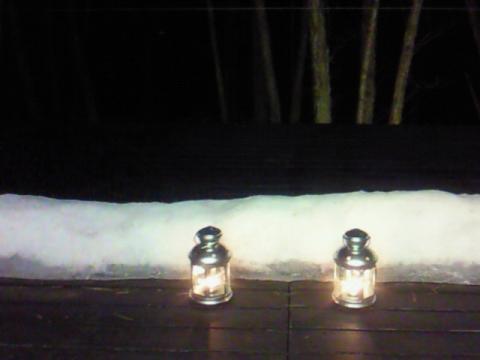 冬の別荘テラス