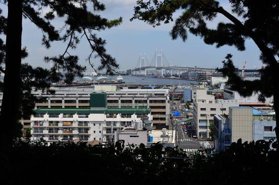 神奈川近代文学館の左手の庭から見た港