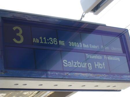 ザルツブルク行きの表示