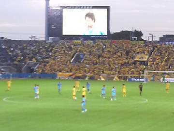 西田が先制点を挙げ、ビジョンにリプレイが映し出される中、千葉ゴール裏は鎮まり返っていた感じか